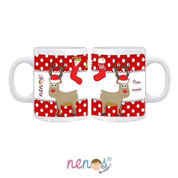 Regalo Personalizado Taza personalizada de Navidad Rudolf